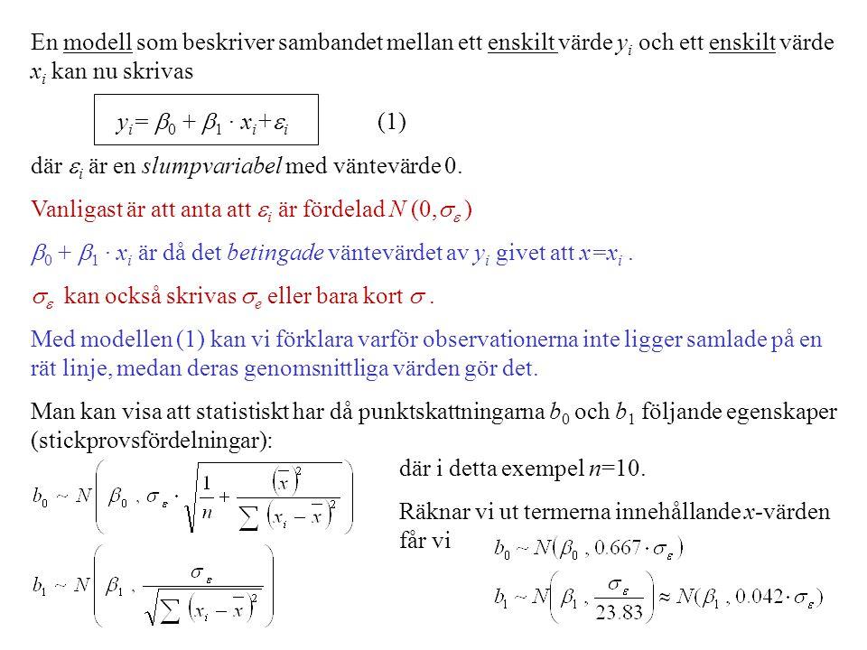 En modell som beskriver sambandet mellan ett enskilt värde y i och ett enskilt värde x i kan nu skrivas y i =  0 +  1 · x i +  i (1) där  i är en slumpvariabel med väntevärde 0.