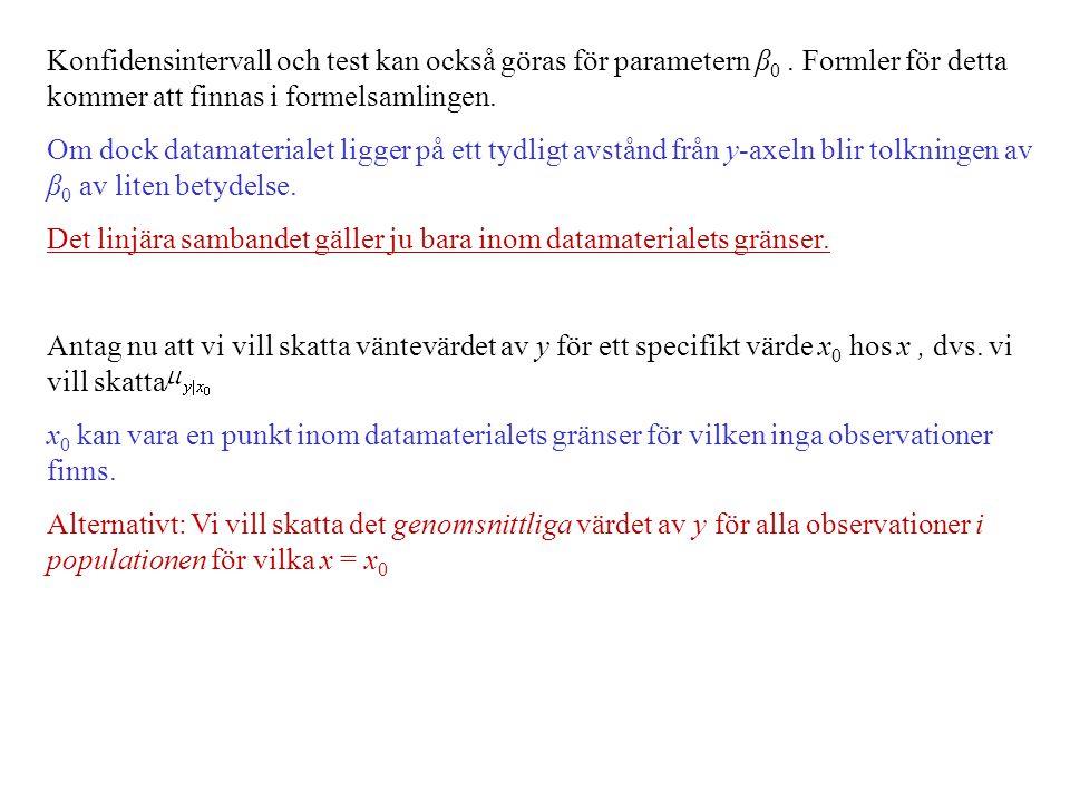 Konfidensintervall och test kan också göras för parametern β 0. Formler för detta kommer att finnas i formelsamlingen. Om dock datamaterialet ligger p