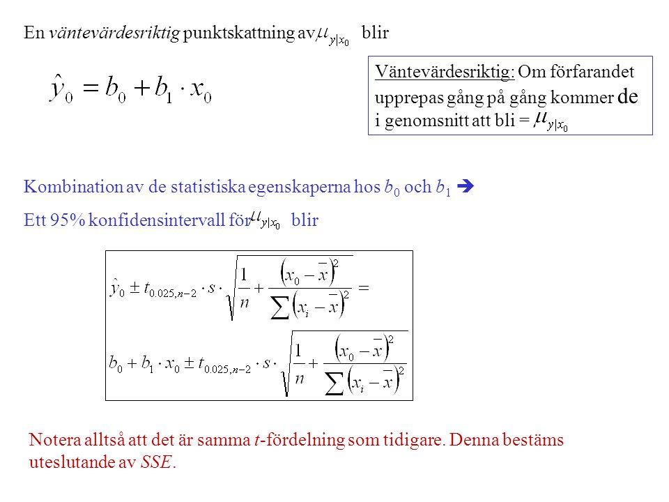 En väntevärdesriktig punktskattning av blir Kombination av de statistiska egenskaperna hos b 0 och b 1  Ett 95% konfidensintervall för blir Väntevärd