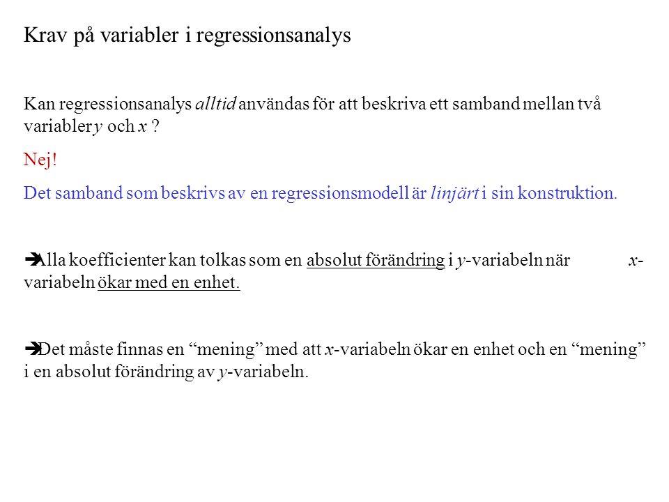Krav på variabler i regressionsanalys Kan regressionsanalys alltid användas för att beskriva ett samband mellan två variabler y och x .