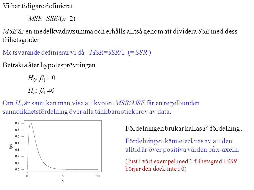 Vi har tidigare definierat MSE=SSE/(n  2) MSE är en medelkvadratsumma och erhålls alltså genom att dividera SSE med dess frihetsgrader Motsvarande definierar vi då MSR=SSR/1 (= SSR ) Betrakta åter hypotesprövningen H 0 :  1 =0 H a :  1  0 Om H 0 är sann kan man visa att kvoten MSR/MSE får en regelbunden sannolikhetsfördelning över alla tänkbara stickprov av data.