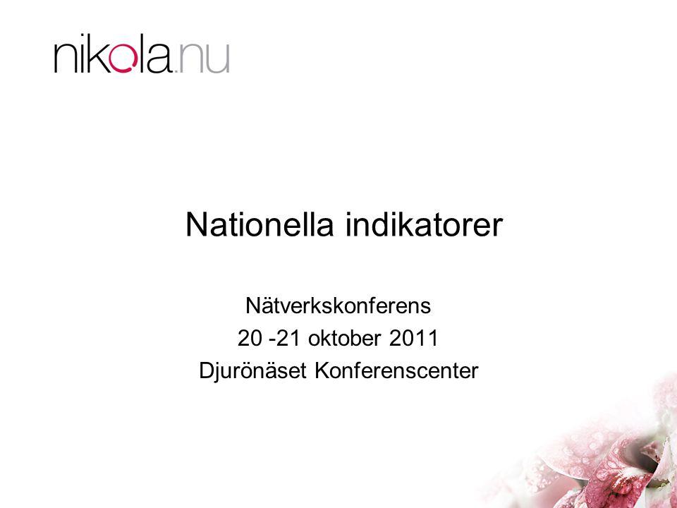 Nationella indikatorer Nätverkskonferens 20 -21 oktober 2011 Djurönäset Konferenscenter