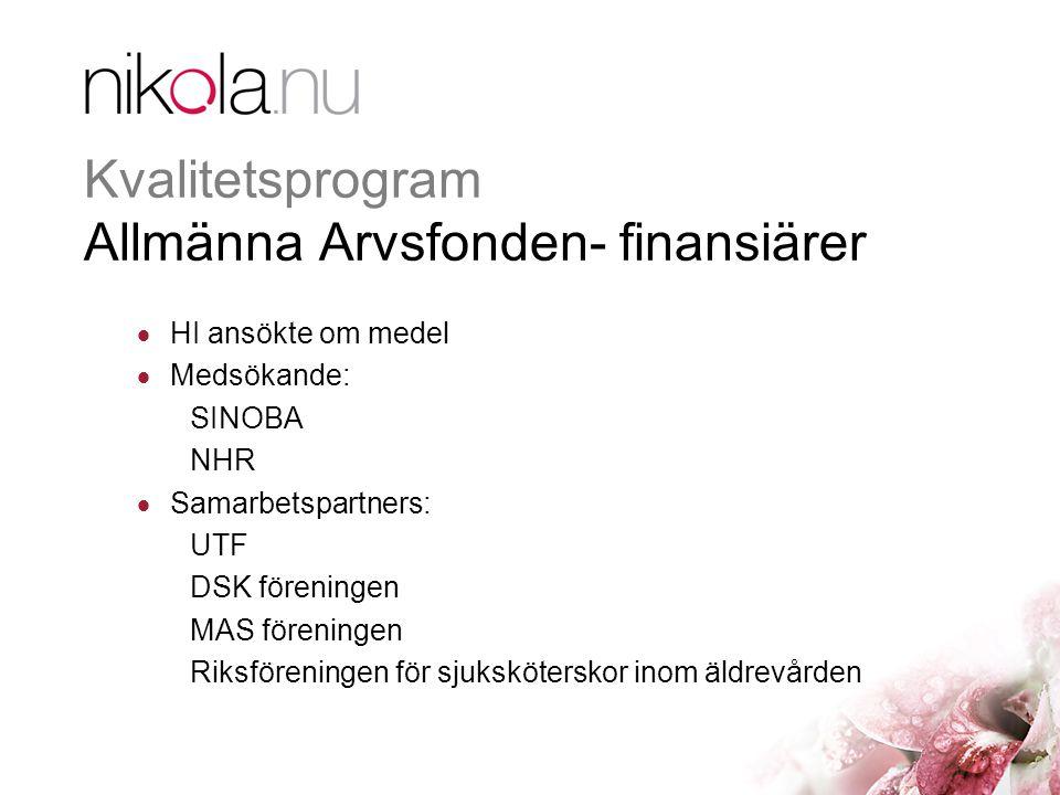 Kvalitetsprogram Allmänna Arvsfonden- finansiärer  HI ansökte om medel  Medsökande: SINOBA NHR  Samarbetspartners: UTF DSK föreningen MAS föreningen Riksföreningen för sjuksköterskor inom äldrevården