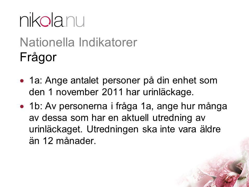 Nationella Indikatorer Frågor  2a: Ange antalet personer som använder inkontinenshjälpmedel på din enhet den 1 november 2011.
