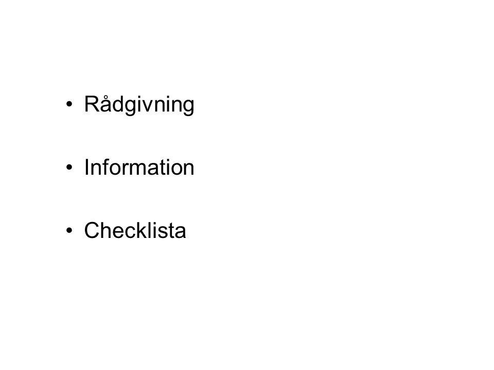 Rådgivning Information Checklista