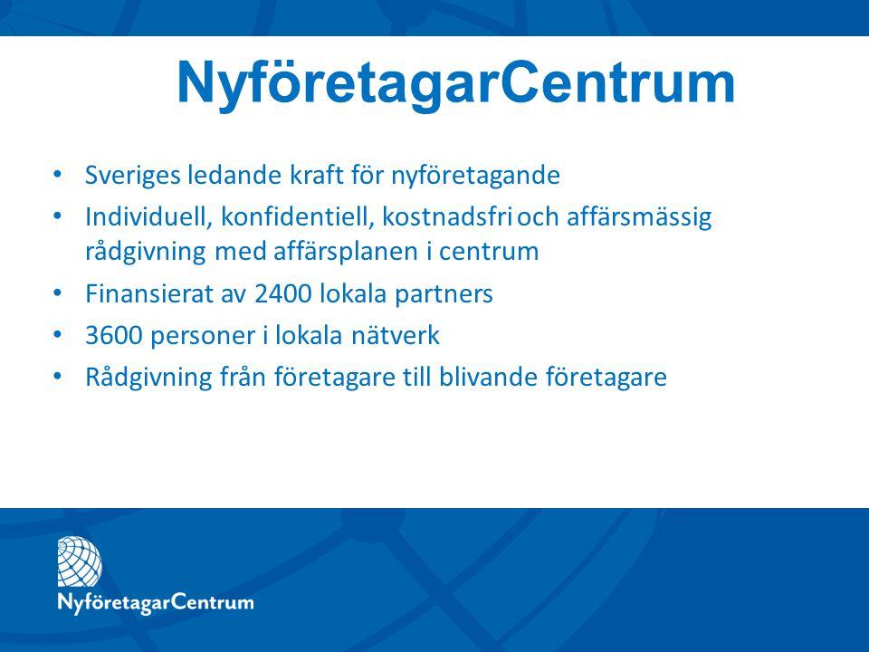 Sveriges ledande kraft för nyföretagande Individuell, konfidentiell, kostnadsfri och affärsmässig rådgivning med affärsplanen i centrum Finansierat av 2400 lokala partners 3600 personer i lokala nätverk Rådgivning från företagare till blivande företagare