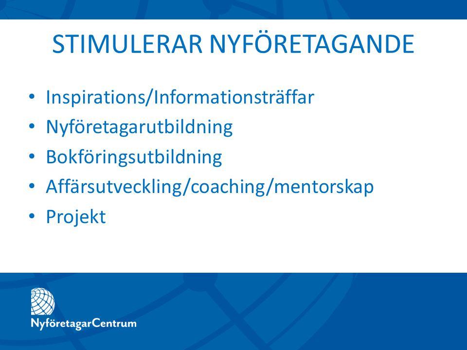 STIMULERAR NYFÖRETAGANDE Inspirations/Informationsträffar Nyföretagarutbildning Bokföringsutbildning Affärsutveckling/coaching/mentorskap Projekt