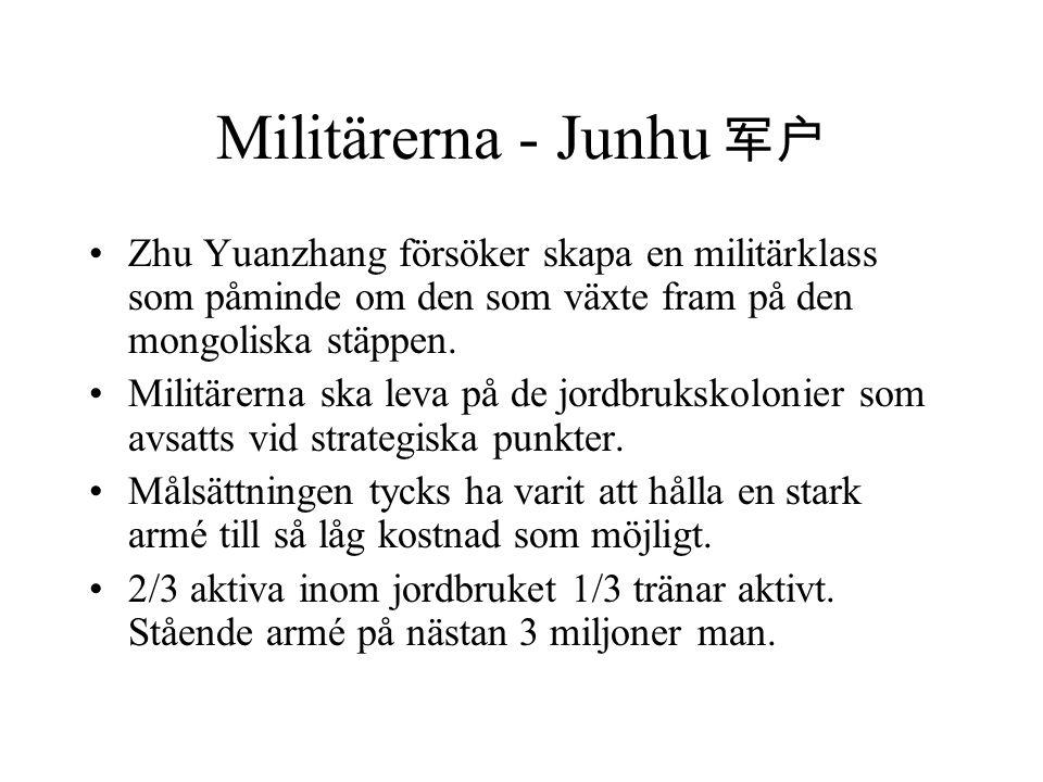 Militärerna - Junhu 军户 Zhu Yuanzhang försöker skapa en militärklass som påminde om den som växte fram på den mongoliska stäppen. Militärerna ska leva