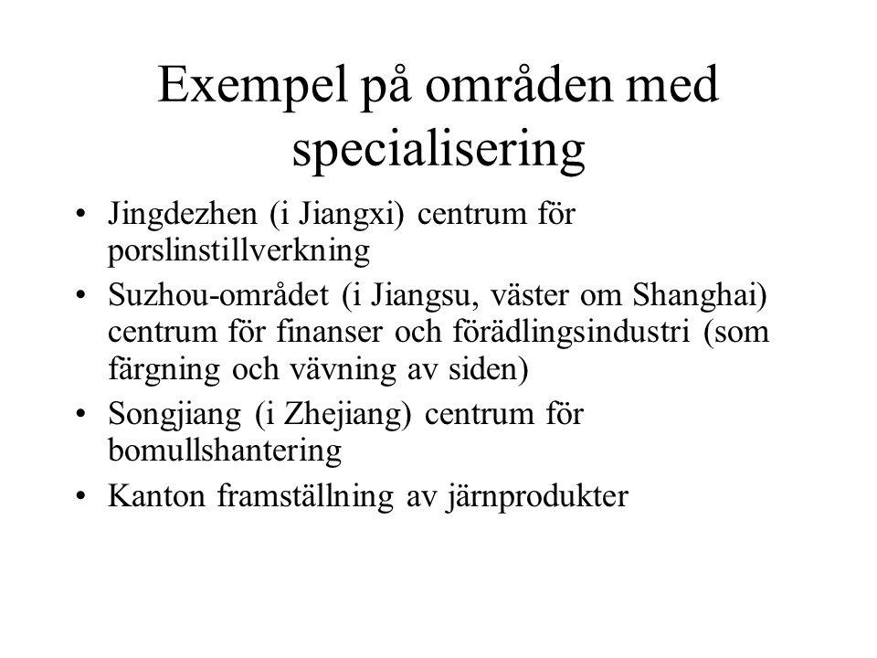 Exempel på områden med specialisering Jingdezhen (i Jiangxi) centrum för porslinstillverkning Suzhou-området (i Jiangsu, väster om Shanghai) centrum f