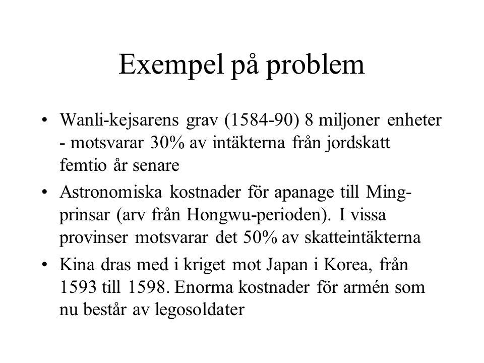 Exempel på problem Wanli-kejsarens grav (1584-90) 8 miljoner enheter - motsvarar 30% av intäkterna från jordskatt femtio år senare Astronomiska kostna