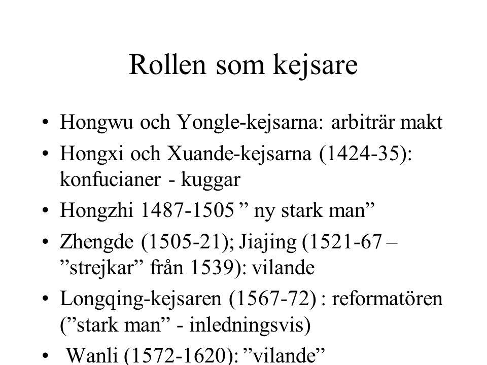 """Rollen som kejsare Hongwu och Yongle-kejsarna: arbiträr makt Hongxi och Xuande-kejsarna (1424-35): konfucianer - kuggar Hongzhi 1487-1505 """" ny stark m"""