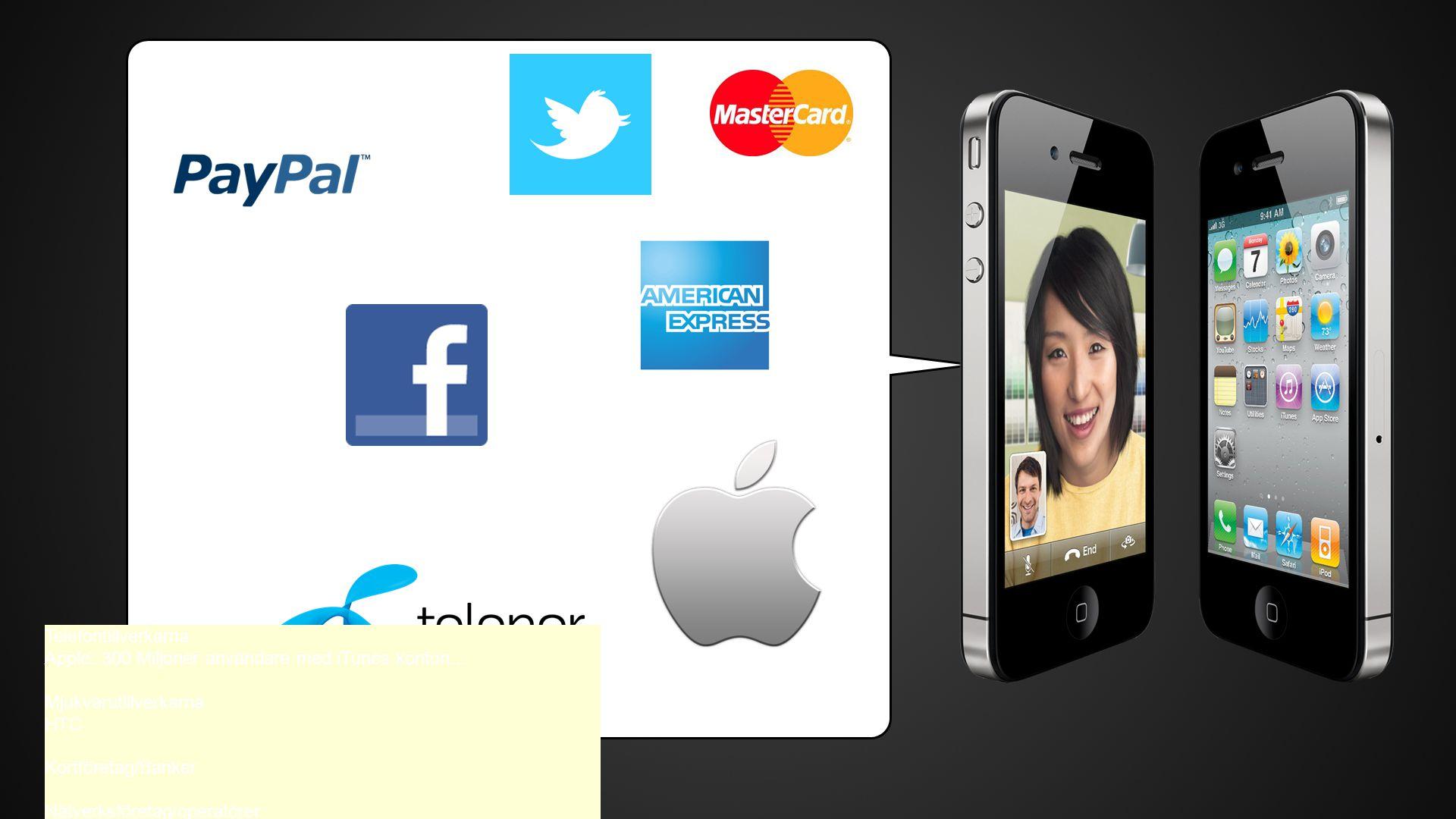 Telefontillverkarna Apple: 300 Miljoner användare med iTunes konton...