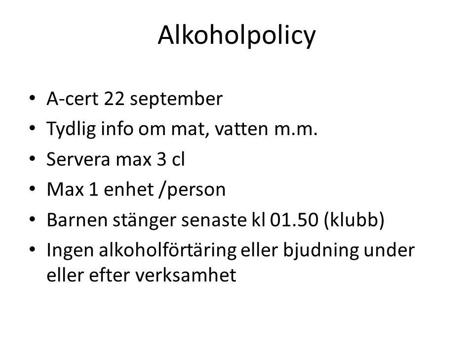 Alkoholpolicy A-cert 22 september Tydlig info om mat, vatten m.m.