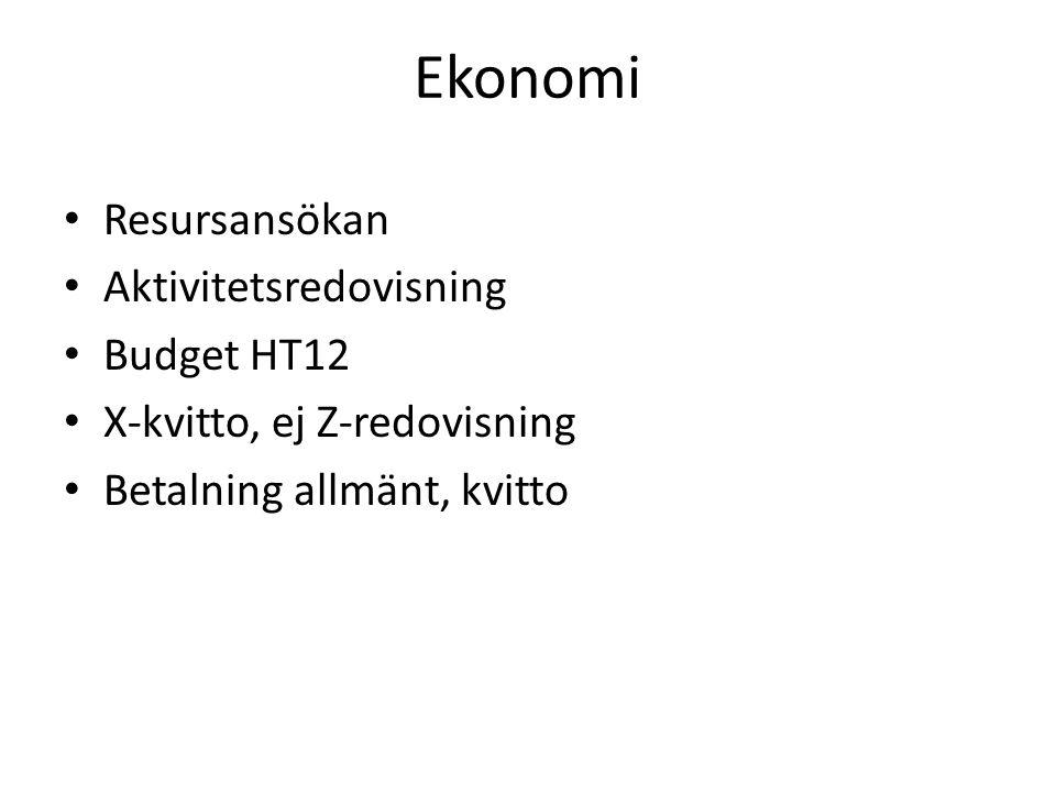 Ekonomi Resursansökan Aktivitetsredovisning Budget HT12 X-kvitto, ej Z-redovisning Betalning allmänt, kvitto