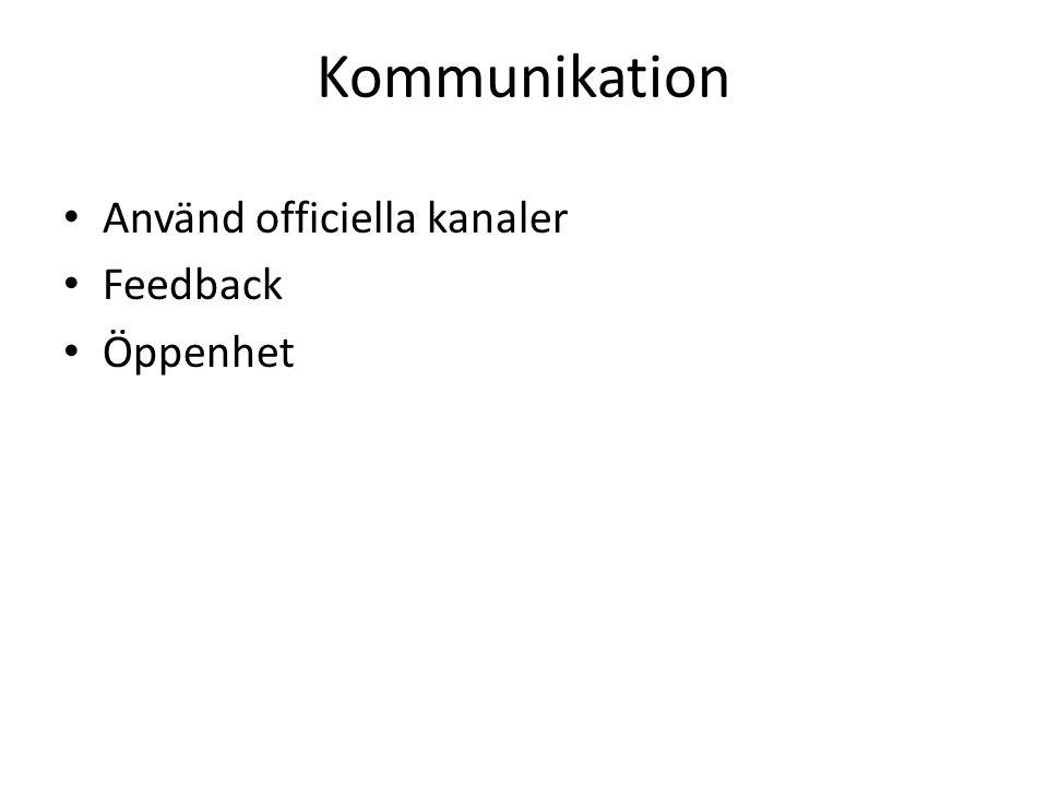 Kommunikation Använd officiella kanaler Feedback Öppenhet