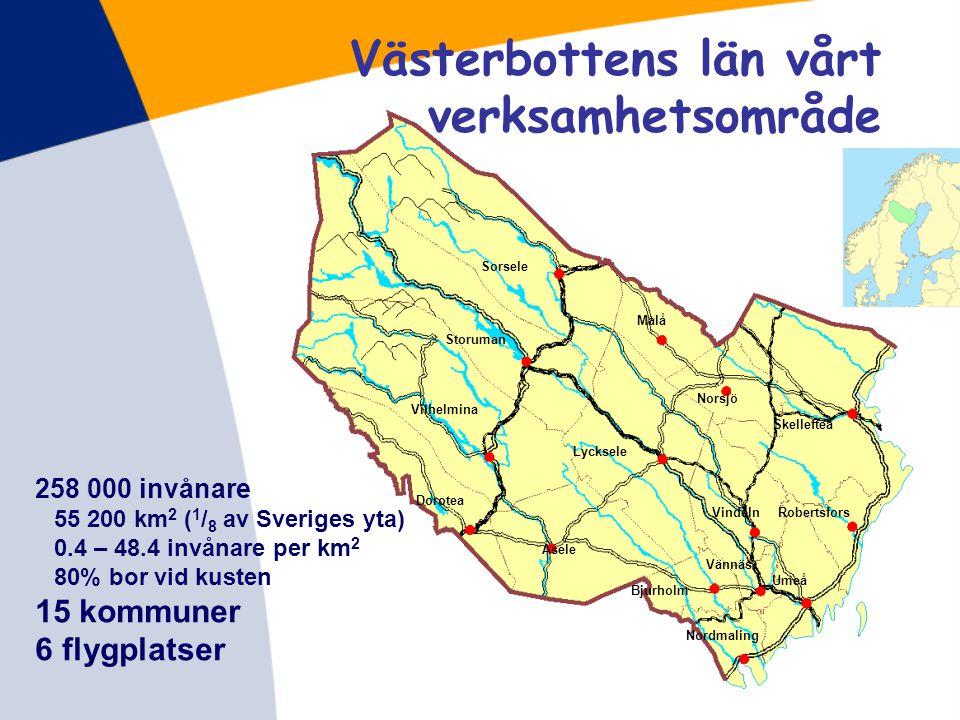 Länsstyrelsen Västerbotten 2011 210 anställda 19 494 ärenden 208,3 miljoner kr för drift 331,9 miljoner kr betalas ut i stöd och bidrag och ytterligare 392,3 miljoner kr som beslutat betalas ut av t ex Jordbruks- verket och Boverket