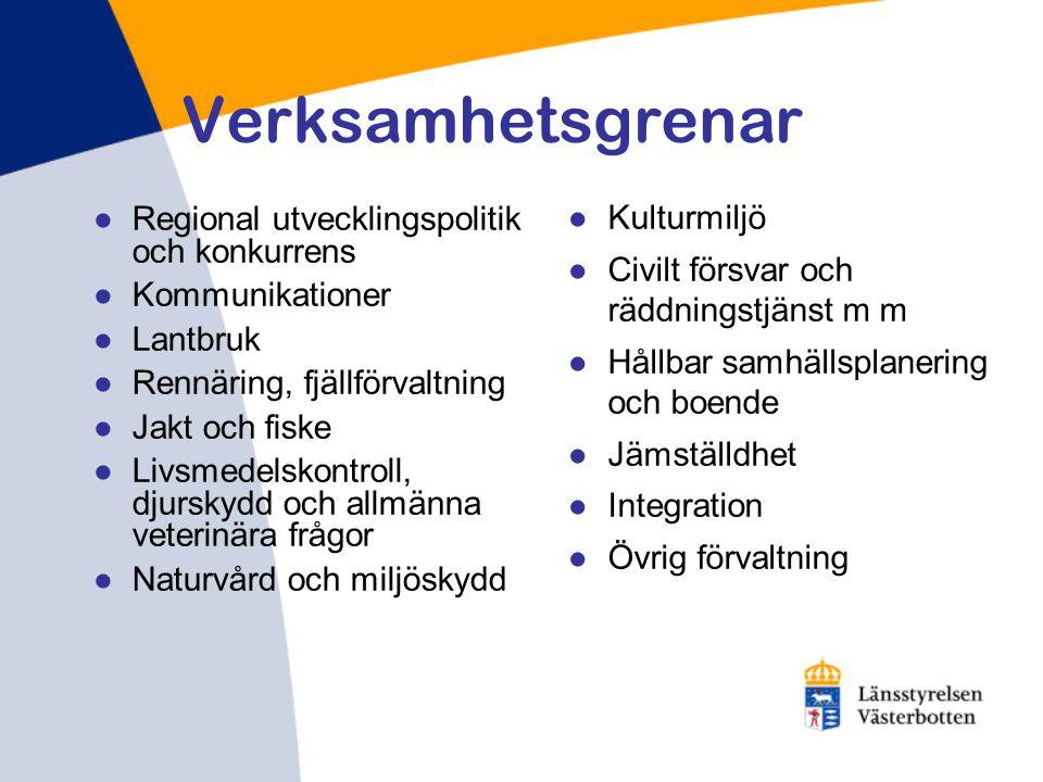 Verksamhetsgrenar ●Regional utvecklingspolitik och konkurrens ●Kommunikationer ●Lantbruk ●Rennäring, fjällförvaltning ●Jakt och fiske ●Livsmedelskontr