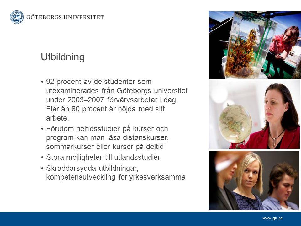 www.gu.se Grundutbildning i siffror 39 000 studenter 27 000 helårsstudenter 22 000 helårsprestationer 150 program 2 500 kurser 5 000 avlagda examina