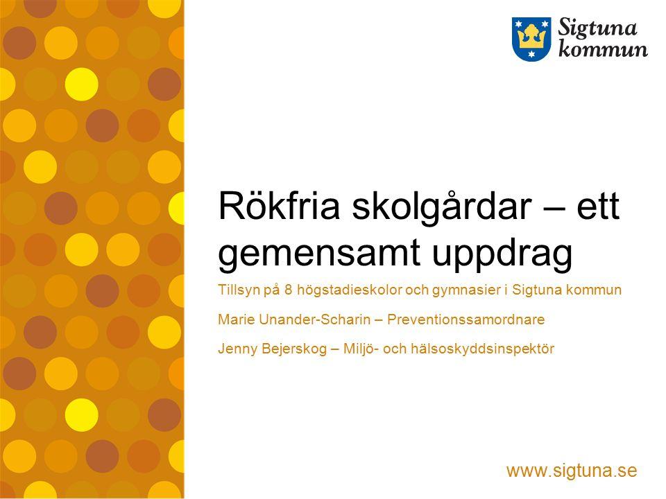 www.sigtuna.se Rökfria skolgårdar – ett gemensamt uppdrag Tillsyn på 8 högstadieskolor och gymnasier i Sigtuna kommun Marie Unander-Scharin – Preventi