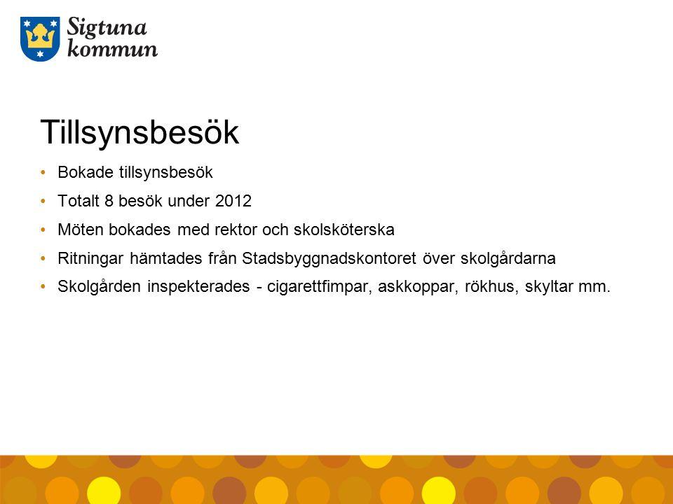 Tillsynsbesök Bokade tillsynsbesök Totalt 8 besök under 2012 Möten bokades med rektor och skolsköterska Ritningar hämtades från Stadsbyggnadskontoret