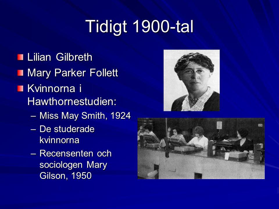 Tidigt 1900-tal Lilian Gilbreth Mary Parker Follett Kvinnorna i Hawthornestudien: –Miss May Smith, 1924 –De studerade kvinnorna –Recensenten och socio