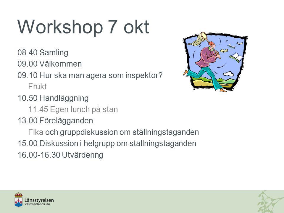 Workshop 7 okt 08.40 Samling 09.00 Välkommen 09.10 Hur ska man agera som inspektör.