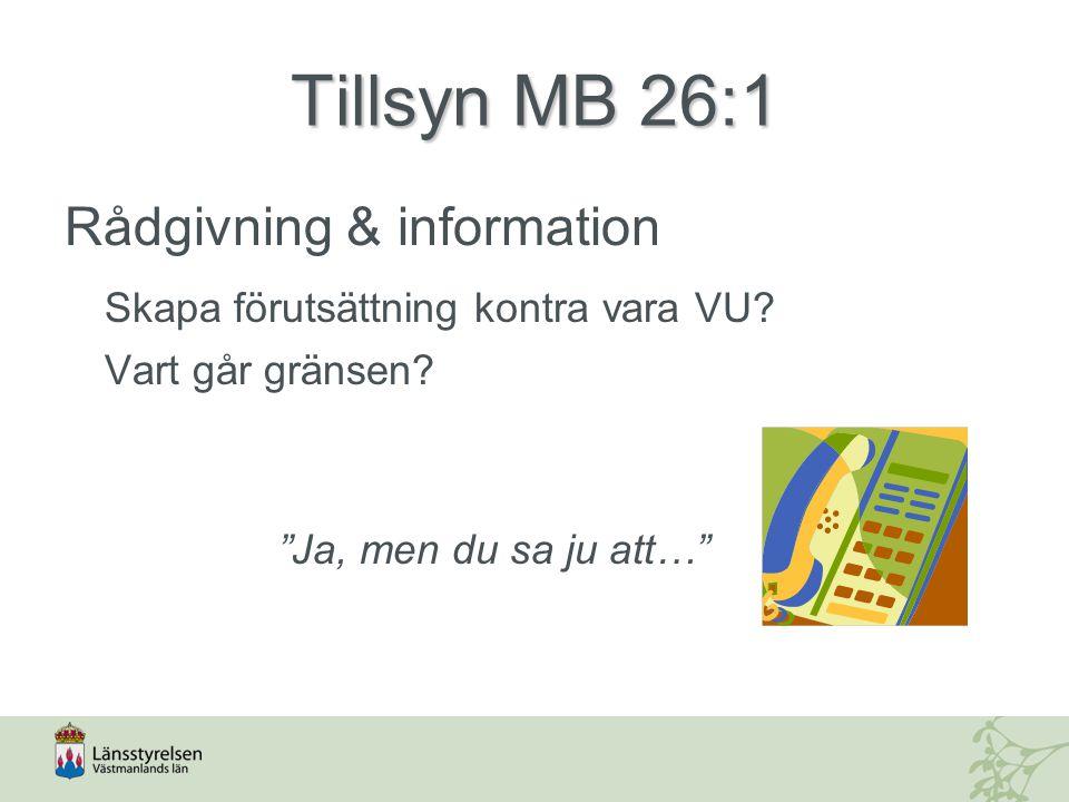 Tillsyn MB 26:1 Rådgivning & information Skapa förutsättning kontra vara VU.