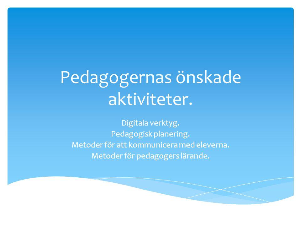 Pedagogernas önskade aktiviteter. Digitala verktyg. Pedagogisk planering. Metoder för att kommunicera med eleverna. Metoder för pedagogers lärande.