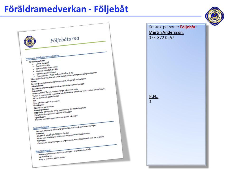 Föräldramedverkan - Följebåt Kontaktpersoner Följebåt: Martin Andersson, 073-872 0257 N.N., 0 Kontaktpersoner Följebåt: Martin Andersson, 073-872 0257