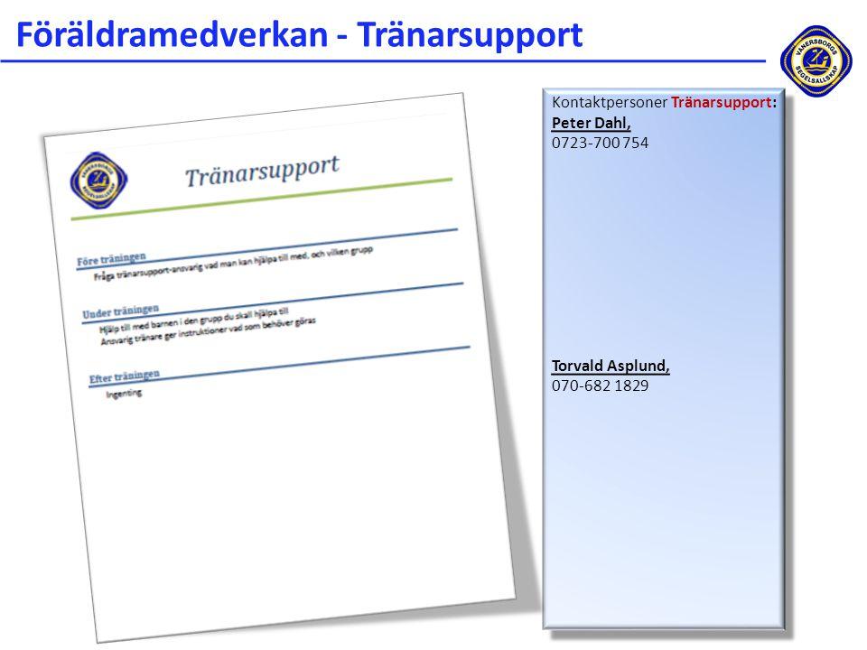 Föräldramedverkan - Tränarsupport Kontaktpersoner Tränarsupport: Peter Dahl, 0723-700 754 Torvald Asplund, 070-682 1829 Kontaktpersoner Tränarsupport: