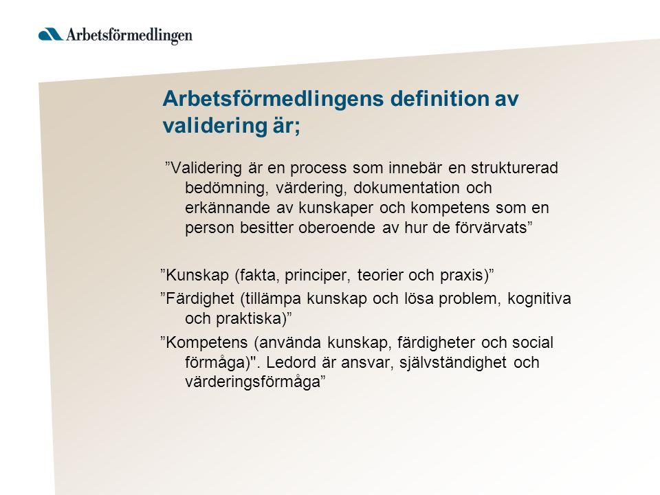 """Arbetsförmedlingens definition av validering är; """"Validering är en process som innebär en strukturerad bedömning, värdering, dokumentation och erkänna"""