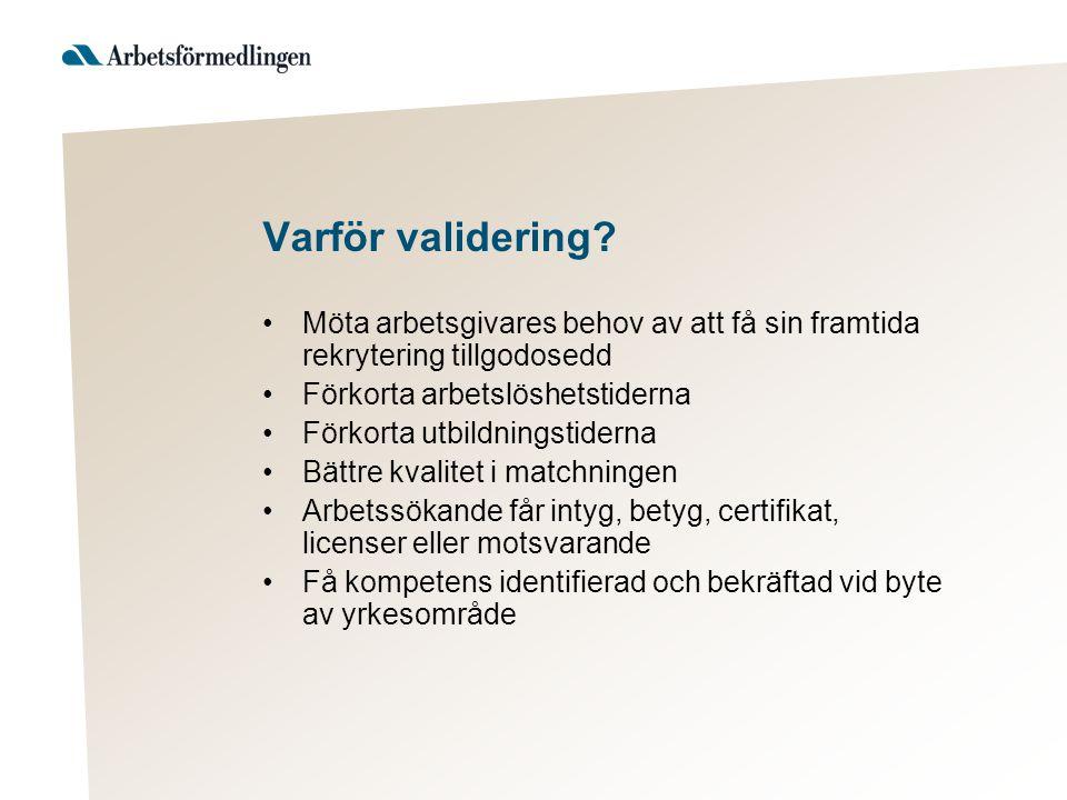 Varför validering? Möta arbetsgivares behov av att få sin framtida rekrytering tillgodosedd Förkorta arbetslöshetstiderna Förkorta utbildningstiderna