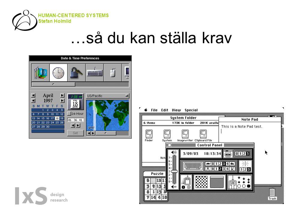 HUMAN-CENTERED SYSTEMS Stefan Holmlid …så du kan ställa krav