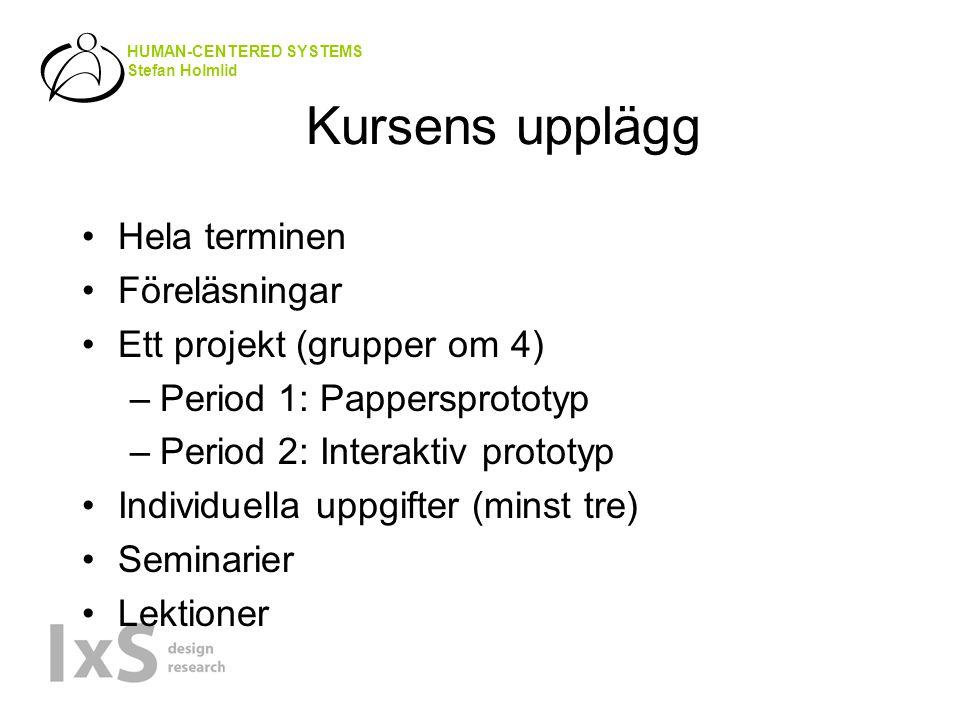 HUMAN-CENTERED SYSTEMS Stefan Holmlid Kursens upplägg Hela terminen Föreläsningar Ett projekt (grupper om 4) –Period 1: Pappersprototyp –Period 2: Interaktiv prototyp Individuella uppgifter (minst tre) Seminarier Lektioner