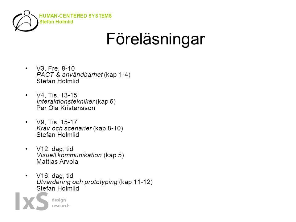 HUMAN-CENTERED SYSTEMS Stefan Holmlid Föreläsningar V3, Fre, 8-10 PACT & användbarhet (kap 1-4) Stefan Holmlid V4, Tis, 13-15 Interaktionstekniker (kap 6) Per Ola Kristensson V9, Tis, 15-17 Krav och scenarier (kap 8-10) Stefan Holmlid V12, dag, tid Visuell kommunikation (kap 5) Mattias Arvola V16, dag, tid Utvärdering och prototyping (kap 11-12) Stefan Holmlid