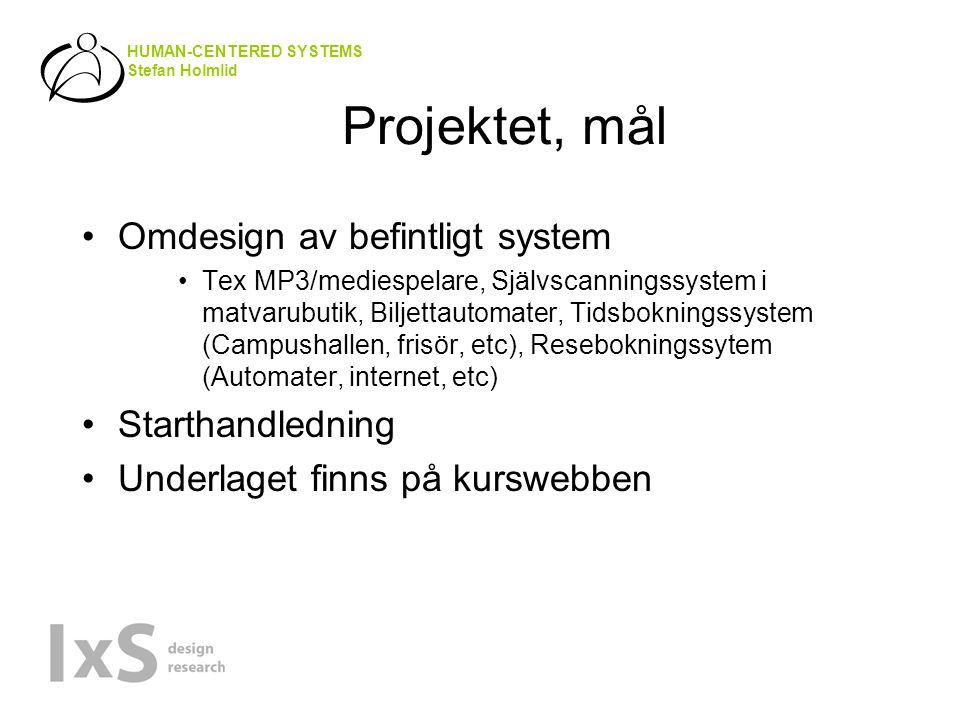 HUMAN-CENTERED SYSTEMS Stefan Holmlid Projektet, mål Omdesign av befintligt system Tex MP3/mediespelare, Självscanningssystem i matvarubutik, Biljettautomater, Tidsbokningssystem (Campushallen, frisör, etc), Resebokningssytem (Automater, internet, etc) Starthandledning Underlaget finns på kurswebben