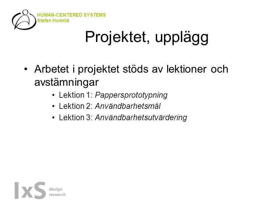 HUMAN-CENTERED SYSTEMS Stefan Holmlid Projektet, upplägg Arbetet i projektet stöds av lektioner och avstämningar Lektion 1: Pappersprototypning Lektion 2: Användbarhetsmål Lektion 3: Användbarhetsutvärdering