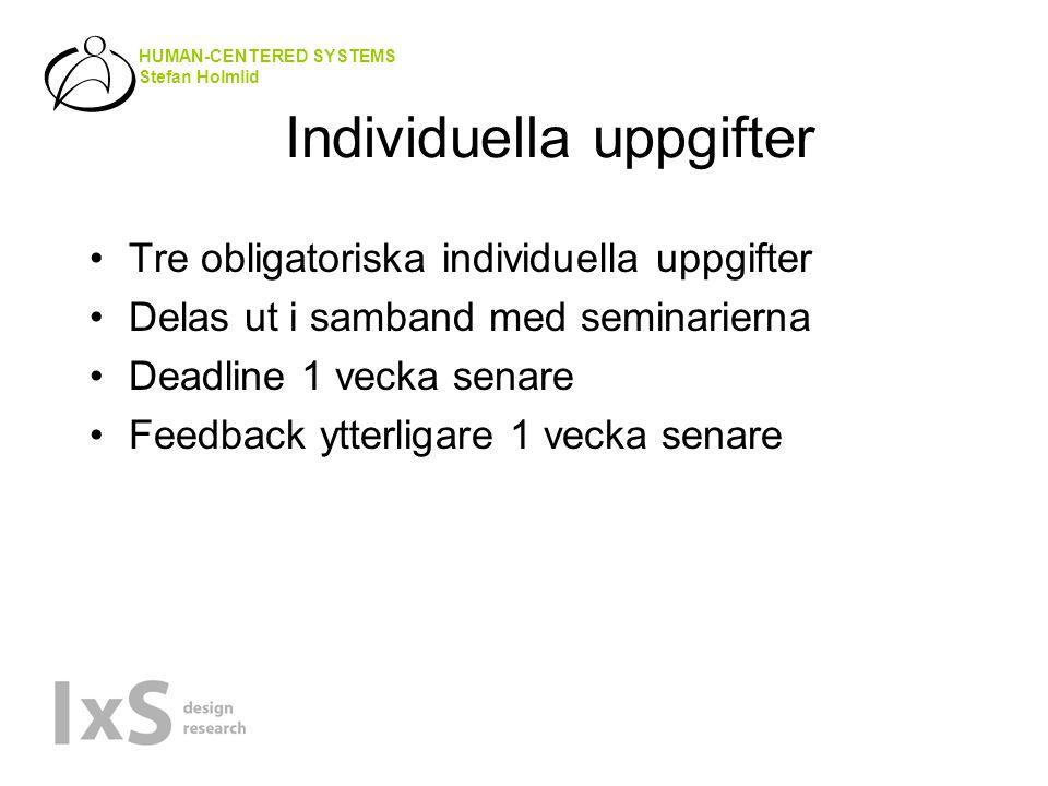 HUMAN-CENTERED SYSTEMS Stefan Holmlid Individuella uppgifter Tre obligatoriska individuella uppgifter Delas ut i samband med seminarierna Deadline 1 vecka senare Feedback ytterligare 1 vecka senare
