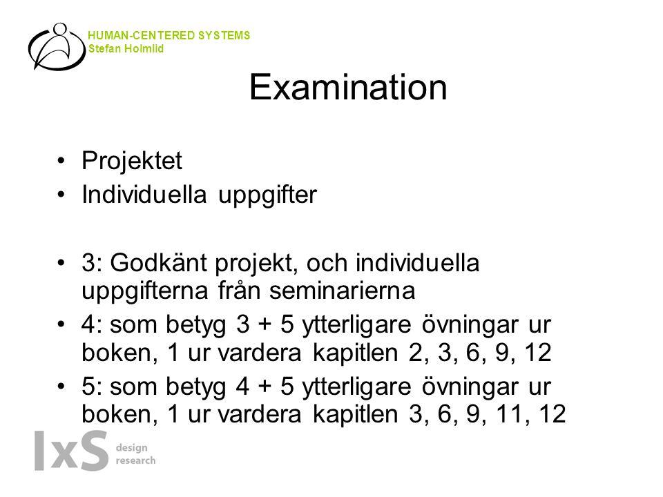 HUMAN-CENTERED SYSTEMS Stefan Holmlid Examination Projektet Individuella uppgifter 3: Godkänt projekt, och individuella uppgifterna från seminarierna 4: som betyg 3 + 5 ytterligare övningar ur boken, 1 ur vardera kapitlen 2, 3, 6, 9, 12 5: som betyg 4 + 5 ytterligare övningar ur boken, 1 ur vardera kapitlen 3, 6, 9, 11, 12