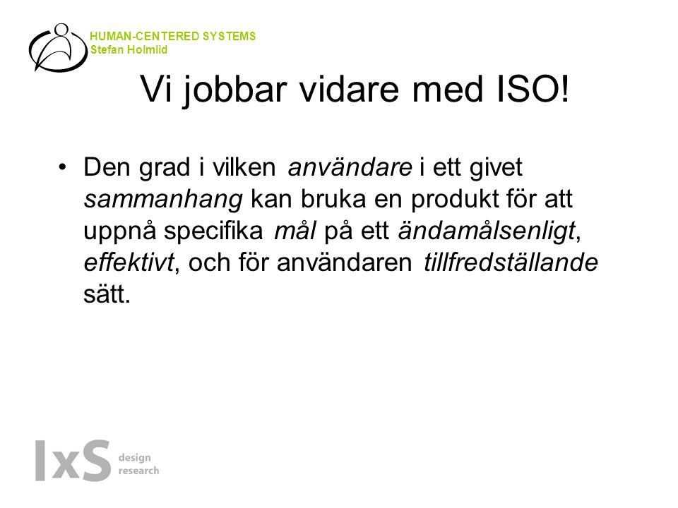 HUMAN-CENTERED SYSTEMS Stefan Holmlid Vi jobbar vidare med ISO.
