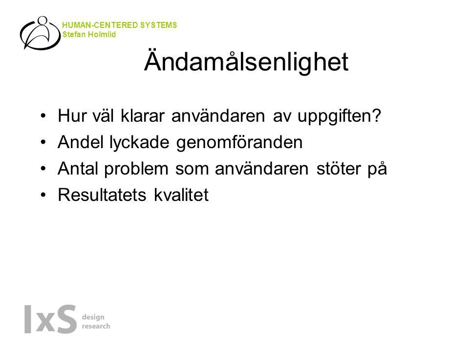 HUMAN-CENTERED SYSTEMS Stefan Holmlid Ändamålsenlighet Hur väl klarar användaren av uppgiften.