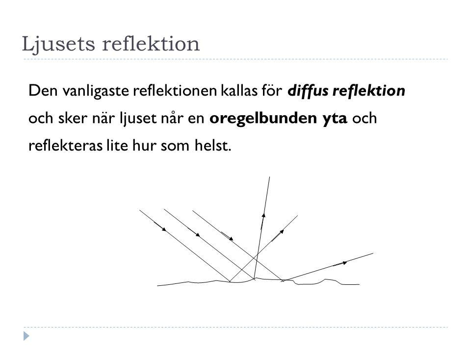Ljusets reflektion Den vanligaste reflektionen kallas för diffus reflektion och sker när ljuset når en oregelbunden yta och reflekteras lite hur som helst.