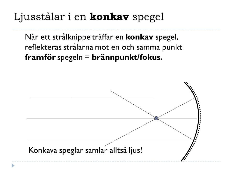 Ljusstålar i en konkav spegel När ett strålknippe träffar en konkav spegel, reflekteras strålarna mot en och samma punkt framför spegeln = brännpunkt/fokus.