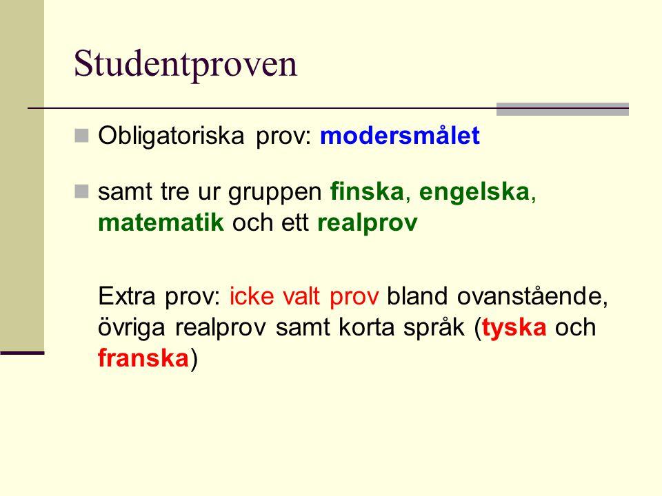 Studentproven Obligatoriska prov: modersmålet samt tre ur gruppen finska, engelska, matematik och ett realprov Extra prov: icke valt prov bland ovanst