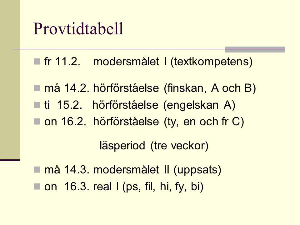 Provtidtabell fr 11.2.modersmålet I (textkompetens) må 14.2. hörförståelse (finskan, A och B) ti 15.2. hörförståelse (engelskan A) on 16.2. hörförståe