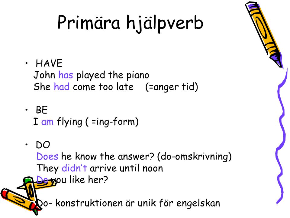 Primära hjälpverb HAVE John has played the piano She had come too late (=anger tid) BE I am flying ( =ing-form) DO Does he know the answer? (do-omskri