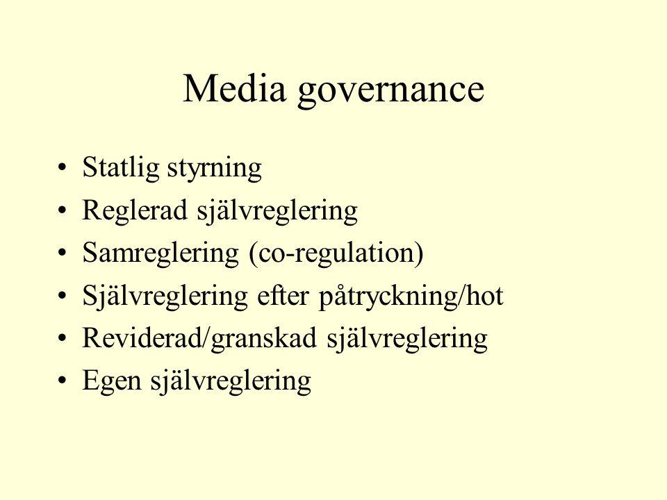 Media governance Statlig styrning Reglerad självreglering Samreglering (co-regulation) Självreglering efter påtryckning/hot Reviderad/granskad självreglering Egen självreglering