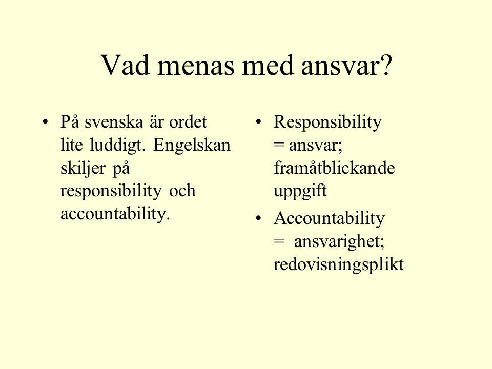 Vad menas med ansvar. På svenska är ordet lite luddigt.