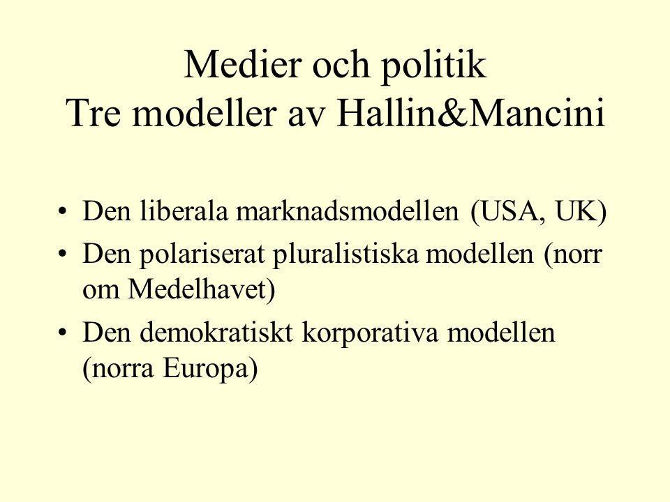 Medier och politik Tre modeller av Hallin&Mancini Den liberala marknadsmodellen (USA, UK) Den polariserat pluralistiska modellen (norr om Medelhavet) Den demokratiskt korporativa modellen (norra Europa)