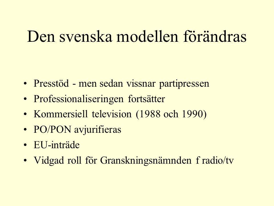 Den svenska modellen förändras Presstöd - men sedan vissnar partipressen Professionaliseringen fortsätter Kommersiell television (1988 och 1990) PO/PON avjurifieras EU-inträde Vidgad roll för Granskningsnämnden f radio/tv